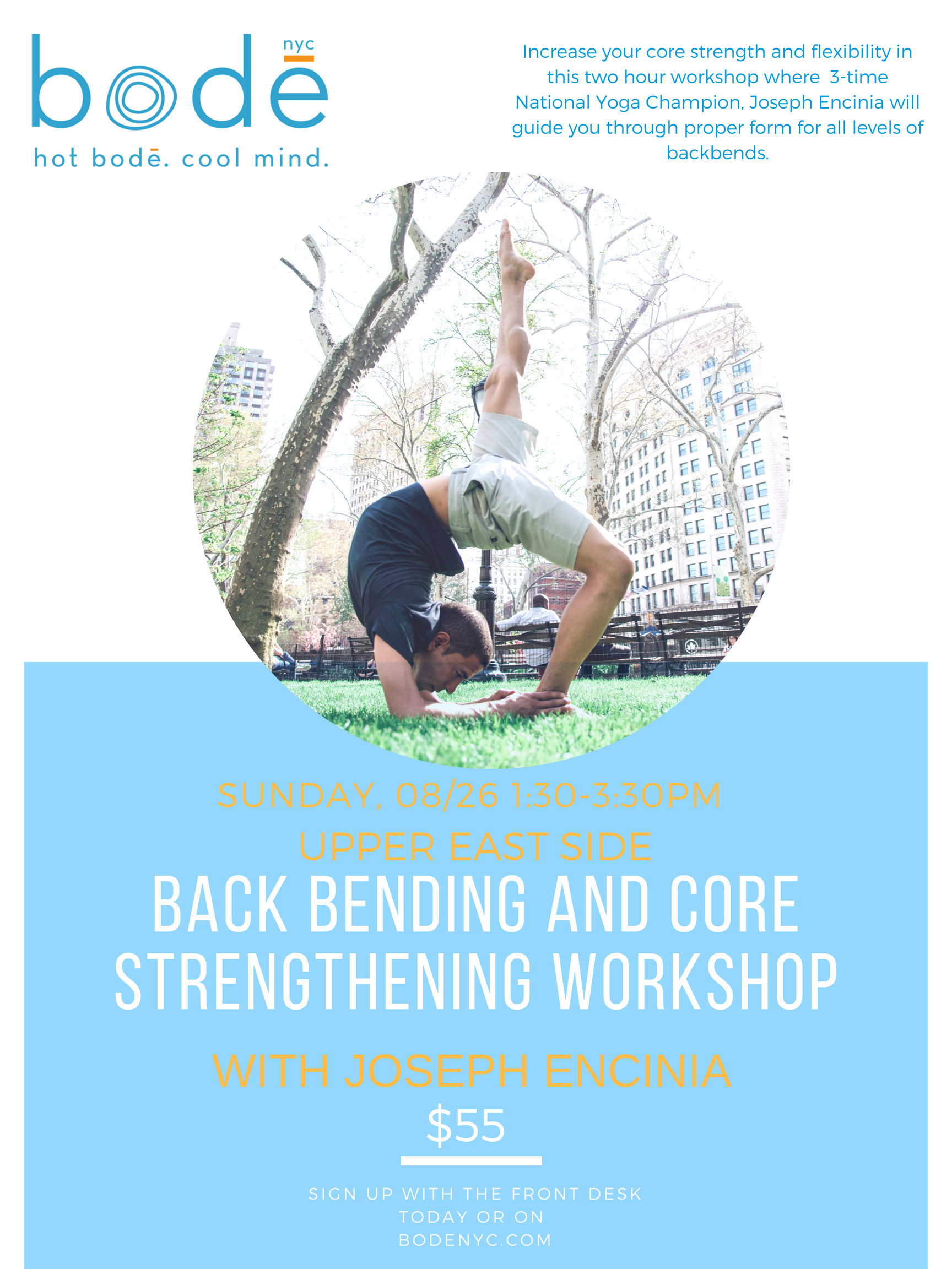 New York City   August 26, 2018   A Backward Bending and Core Strengthening Workshop