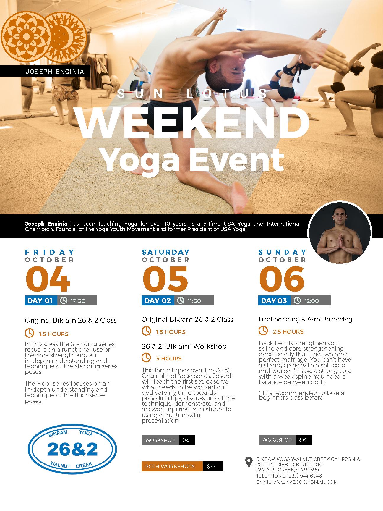 Walnut Creek, California | October 4-6, 2019 | Beginners Yoga Work Shop & Back Bending and Arm Balancing Workshop